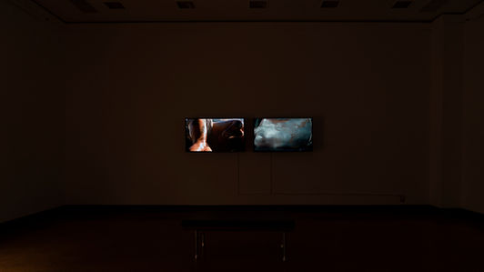 dark exhibition space with screens glowing from the walls