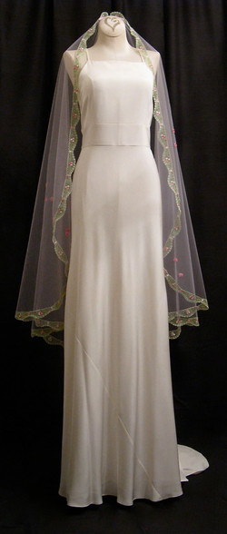 Blush Veil With Green Lace
