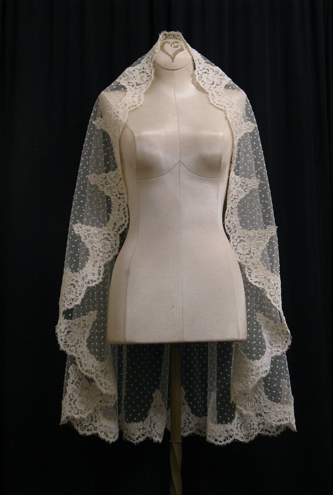 Ivory Swiss Dot Mantilla Veil