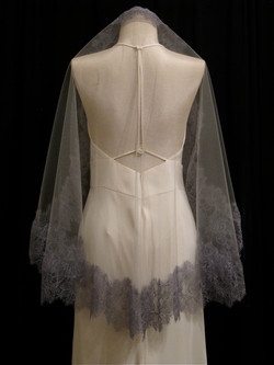 Pale Oyster And Gray Lace Veil