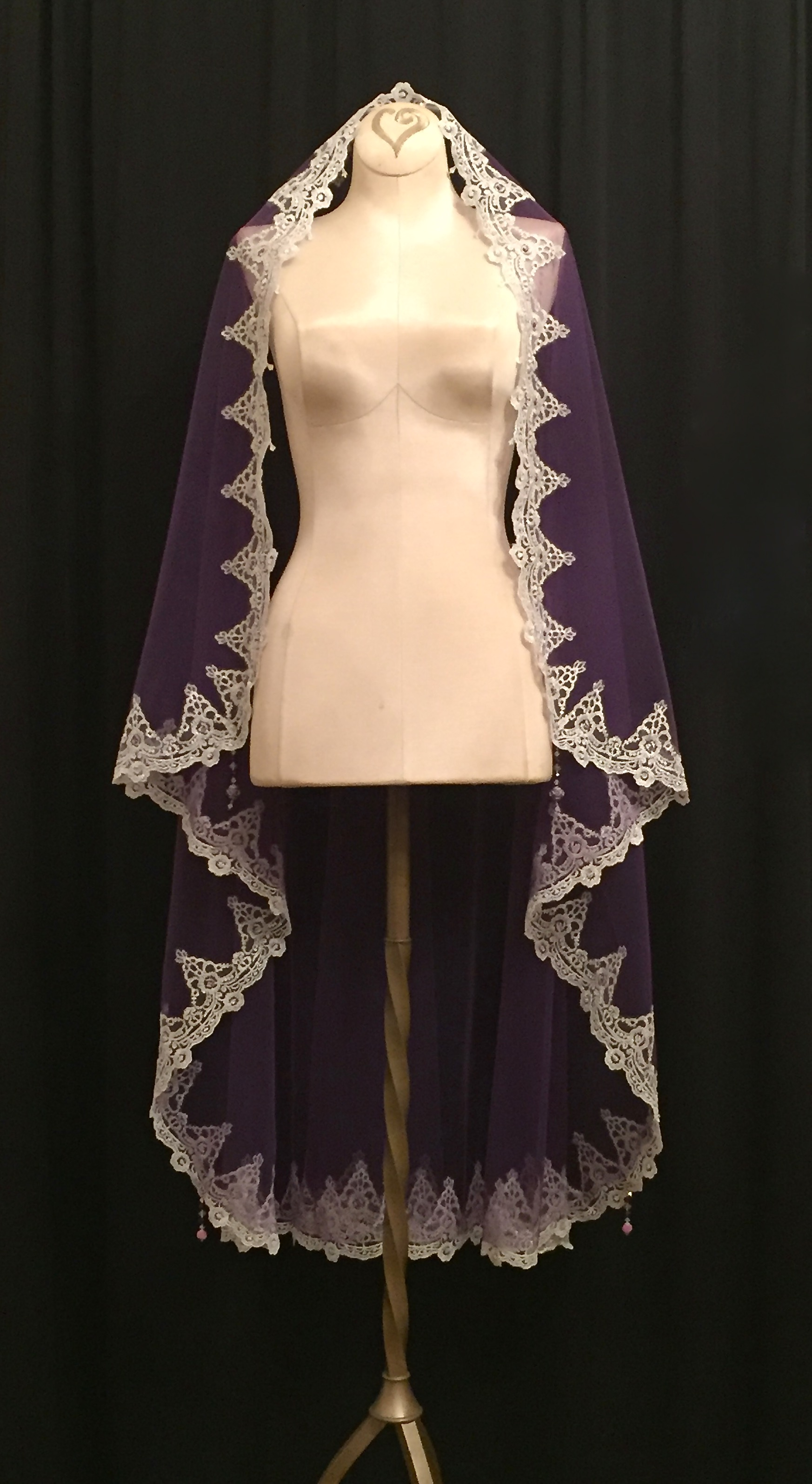 Purple And Silver Mantilla Veil