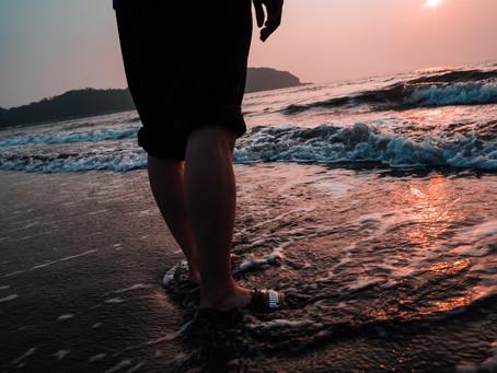 夕焼けと桟橋のコラボ 原岡海岸