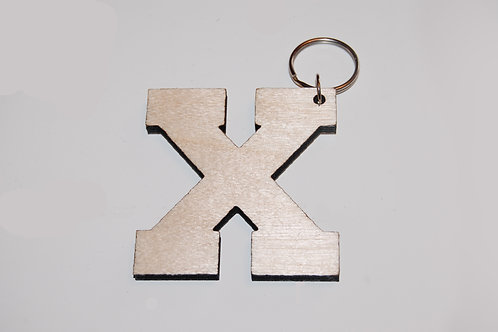 Natural wood color X keychain