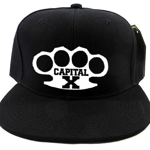 White on Black Capital X Knuckles Snapback Cap