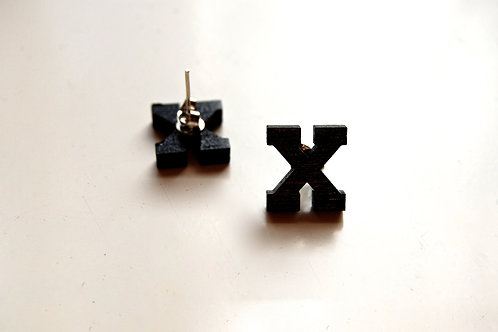 Black X stud earrings