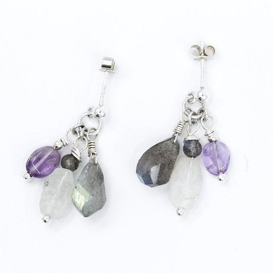 Labradorite, Rainbow Moonstone & Amethyst Gemstone Earrings
