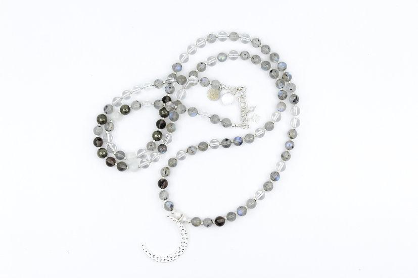 Silver Moon Mala with Labradorite, Pyrite, Smokey Quartz & Crystal Quartz