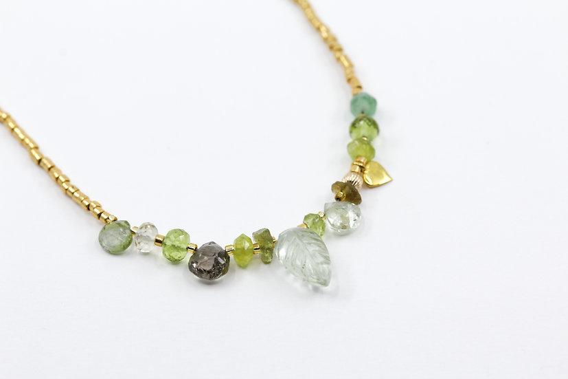 Green Amethyst Gemstone Leaf Necklace - Heart Chakra