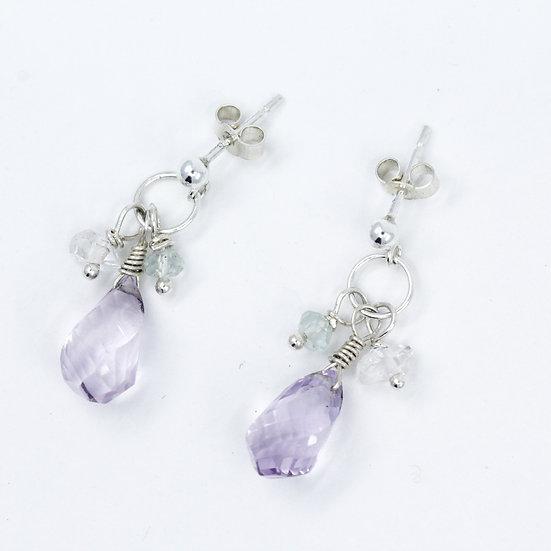 Amethyst, Aquamarine & Crystal Quartz Gemstone Earrings