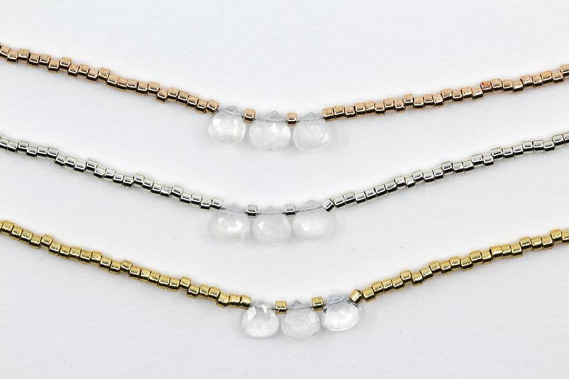 Rainbow Moonstone Minimalist Necklace
