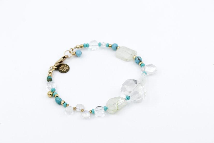 Crystal Quartz & Turquoise Moontide Bracelet