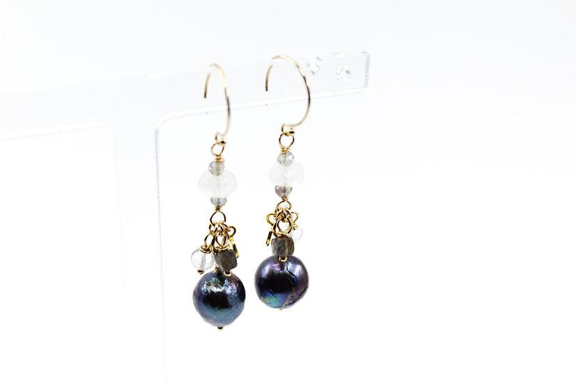 Peacock Blue Pearl, Rainbow Moonstone & Sapphire Drop Earrings