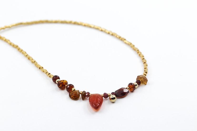 Carnelian Gemstone Leaf Necklace - Root Chakra