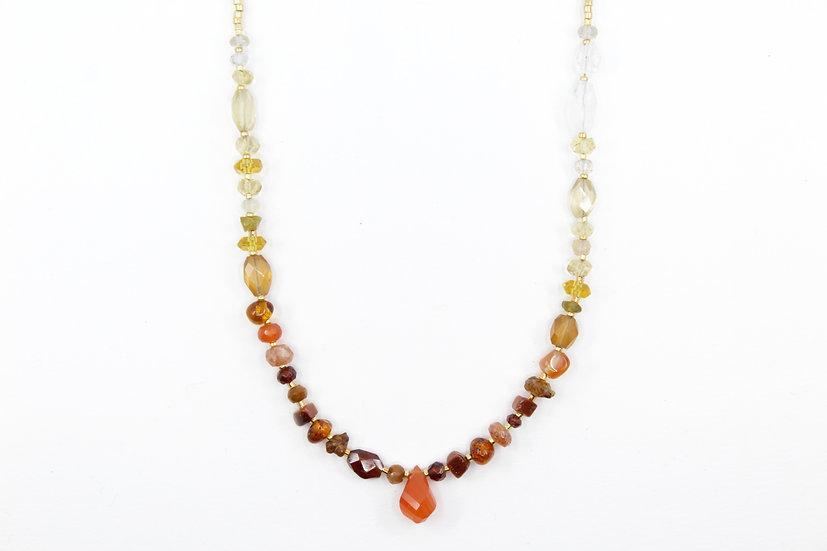 Autumn Inspired - Carnelian Ombre Gemstone Necklace