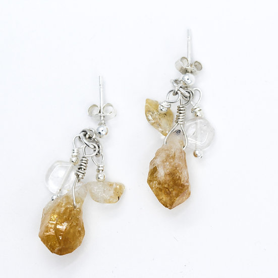 Citrine & Crystal Quartz Raw Gemstone Earrings