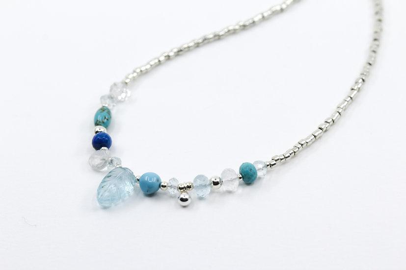 Sky Blue Topaz Gemstone Leaf Necklace - Throat Chakra