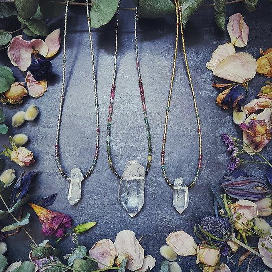 Crystal Quartz & Watermelon Tourmaline Necklace