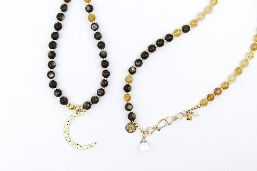 Golden Moon Mala with Citrine, Golden Rutile Quartz & Golden Mica