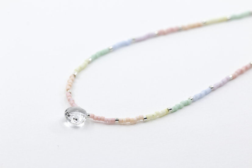 Crystal Quartz and Pastel Rainbow Minimalist Necklace