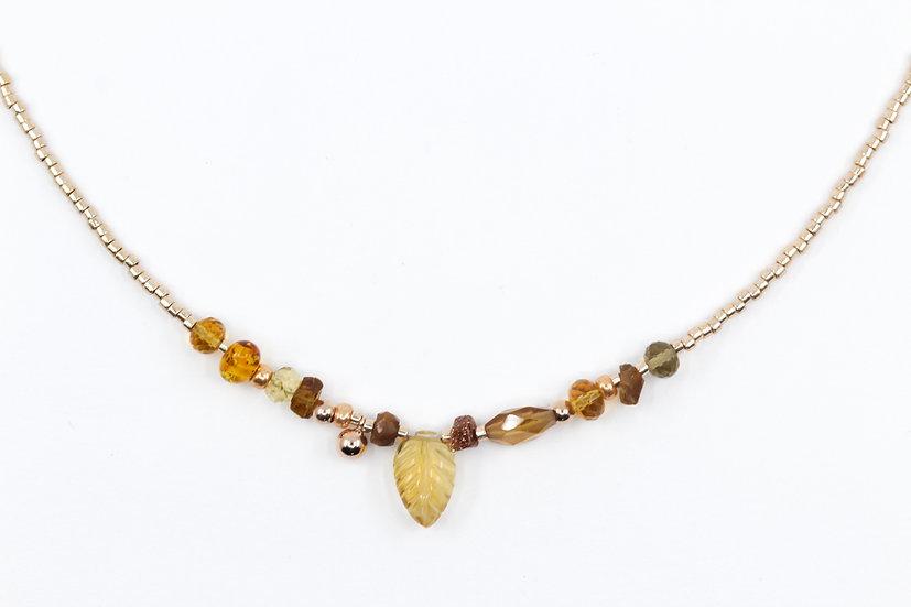 Citrine Gemstone Leaf Necklace - Sacral Chakra & Solar Plexus Chakra