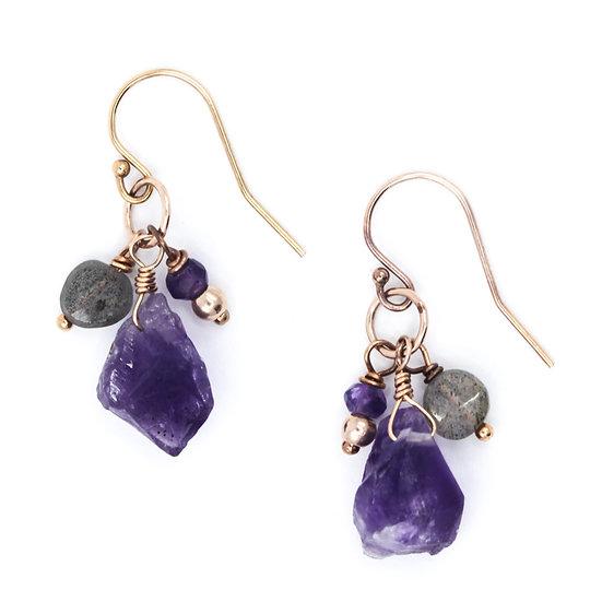 Amethyst & Labradorite Raw Gemstone Earrings