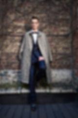 """Kimono Silk Coat, by Nishijin-ori technique """"Venus""""; Kimono Silk Bow Tie, by Raden technique """"Purple Cobweb""""; Pongee Silk Suit """"Baron""""; Dress Shirt, Cotton and Silk mix - HIROMI ASAI 18-19 F/W"""
