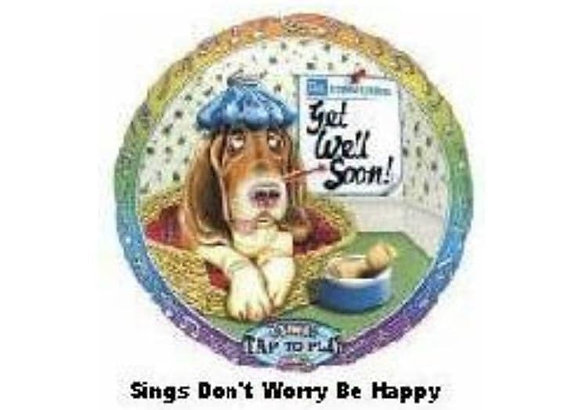 """28""""Get Well """"Don't Worry Be Happy"""" Singing Balloon"""