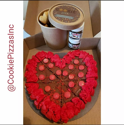 Valentines Heart with Mini Cookies and Nutella Dip Cookie Pizza