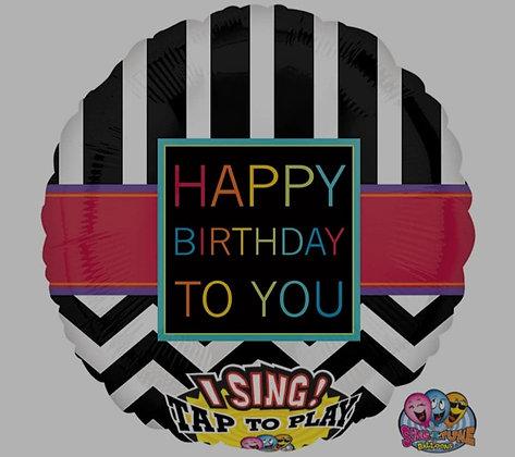"""28"""" Singing Chevron Happy Birthday to You Balloon"""