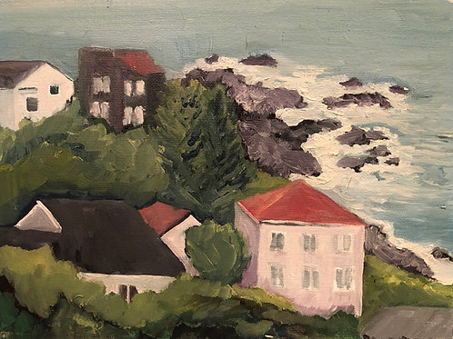 "Shelter Cove, CA From Humboldt Road 8x10"" original plein air oil painting"