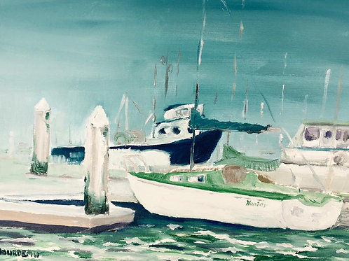 "Humboldt Bay Marina, Eureka, CA 8x10"" original oil painting"