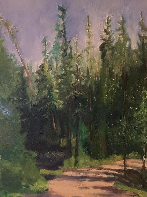 Greenhouse Road Driveway Near Pond original plein air oil painting