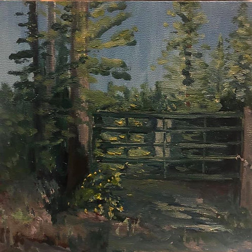 "Backgate, Ione WA 6x6x2"" oil painting plein air, all in one sitting on wood"
