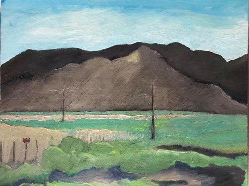 "Eldorado Valley Property Line Fence Looking West 8x10"" original oil painting"