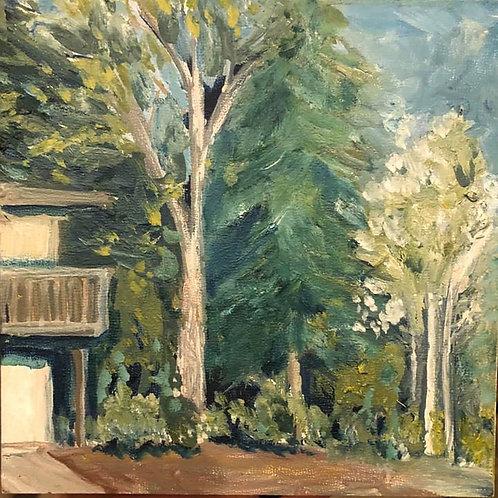 "Studio Edge, Ione, WA 6x6x2"" oil painting on wood, plein air"