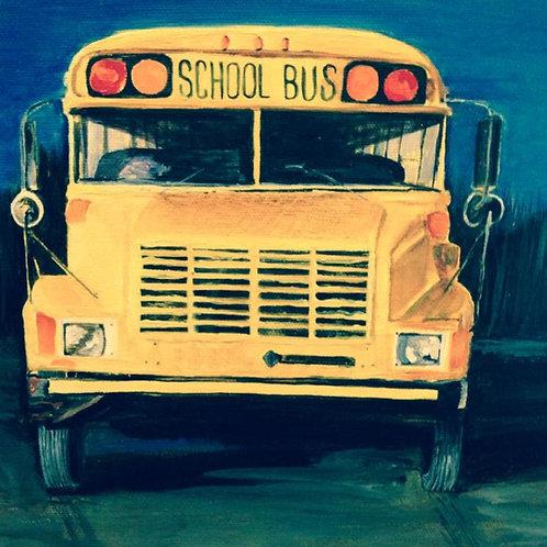 "School Bus 12 x 12"" acrylic original painting"