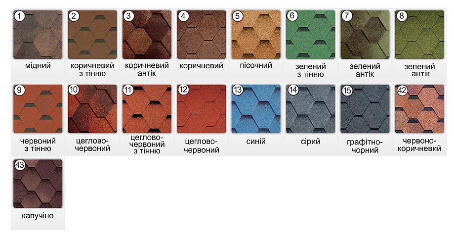 Roofshild выбрать цвет колір бітумної черепиці