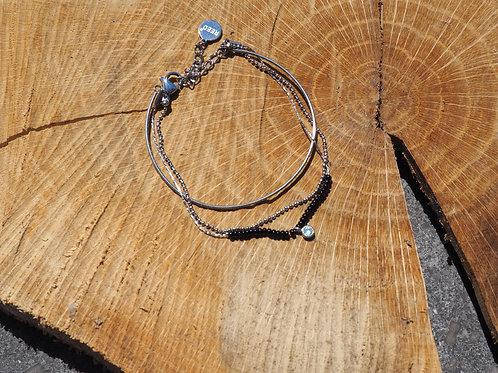 Bracelet 3 rangs argenté