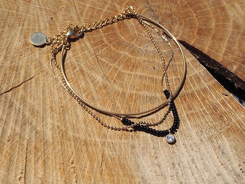 Bracelet 3 rangs doré