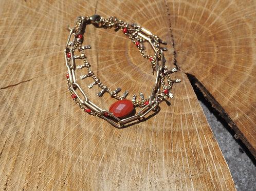Bracelet perle rouge