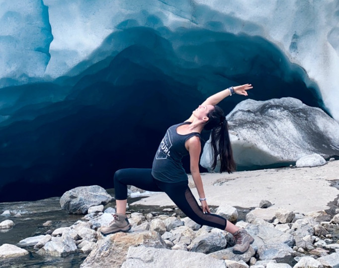 yoga at the aletsch glacier switzerland