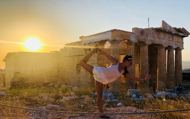 yoga pose in athens