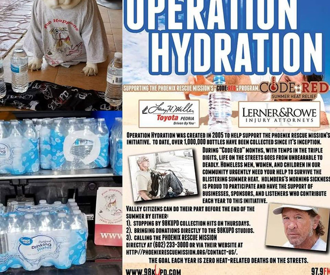 Dori helped collect cases of water for Operation Hydration