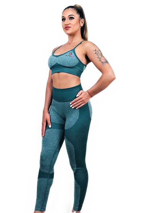 TRAINING SPORTS BRA AND ANKLE LENGTH LEGGINGS STRIPE MESH FEMININE ELEGANCE