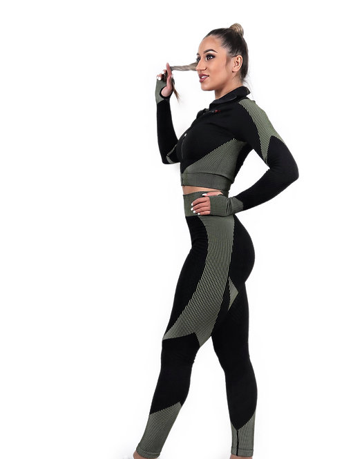 Wrap Zipper Sleeve Tops and Seamless Enhance Leggings