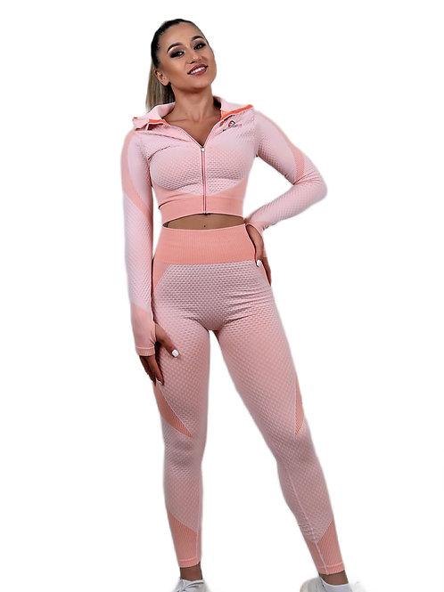 Wrap Zipper Sleeve Tops and Seamless Enhance Leggings