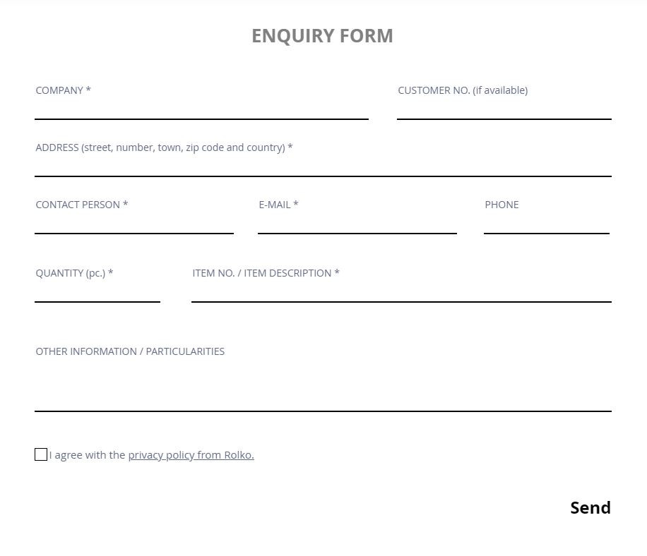 Form for product enquiries
