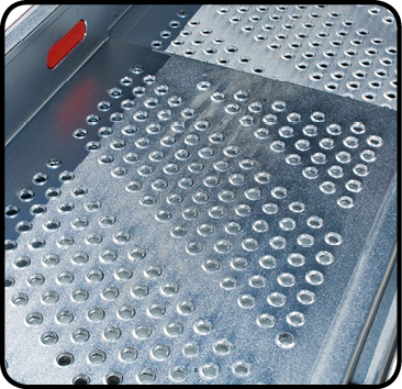 Perforated running surface reduces slipping risk