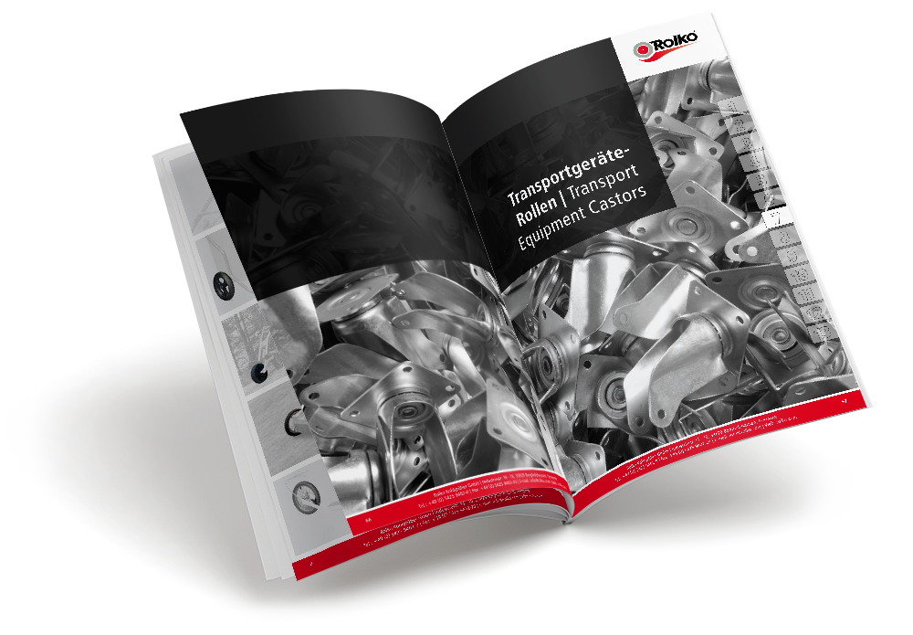 Katalog mit Rollen, Rädern und Zubehör für Industrie und Handel