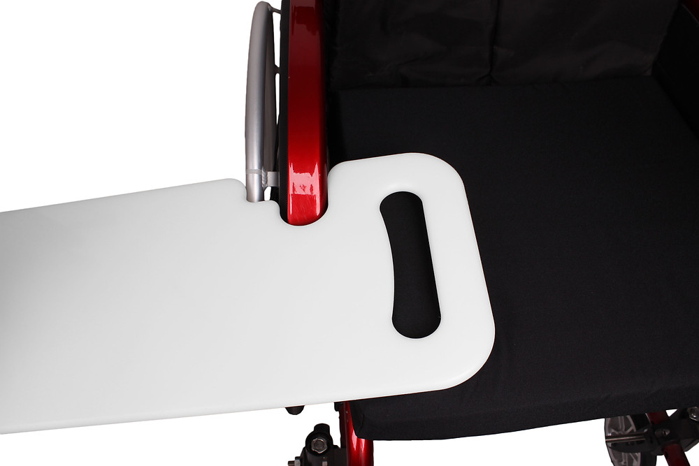 Transfer board on a wheelchair